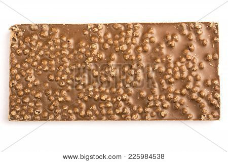 The Back Of A Chocolate Bar On A White Background Isolated