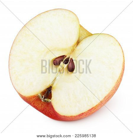 Ripe Red Apple Half Fruit With Seeds Isolated On White Background. Half Of Red Apple Fruit With Clip