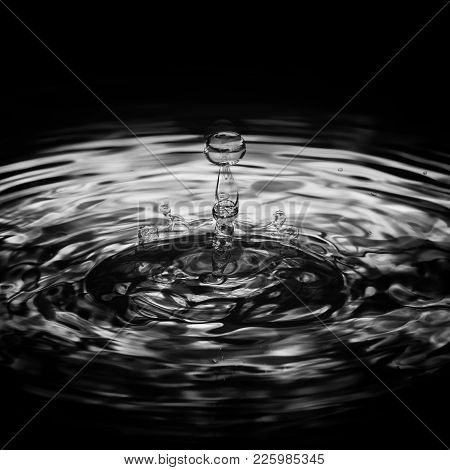 Water Drop Ripple Splash Droplet Monochrome Black And White Image