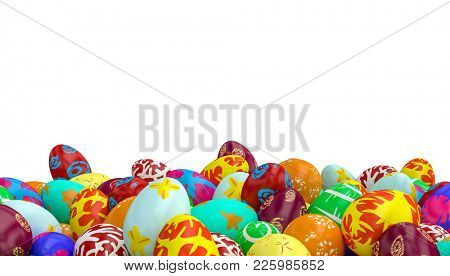 isolated easter painted eggs 3d rendering image
