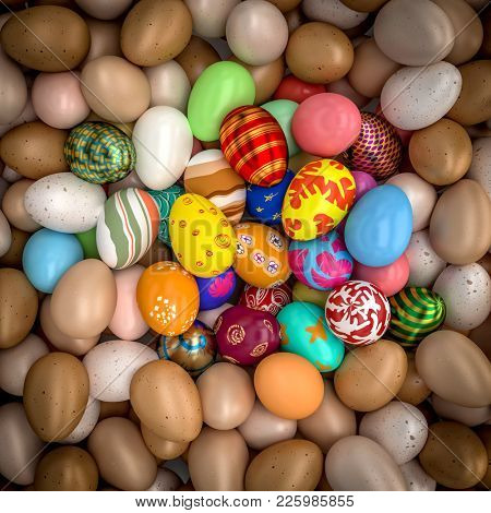 natural and artistic painted easter eggs 3d rendering image