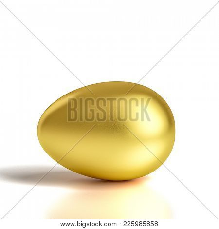 golden egg on white background 3d rendering image