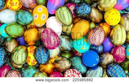golden and painted artistic easter eggs background 3d rendering image