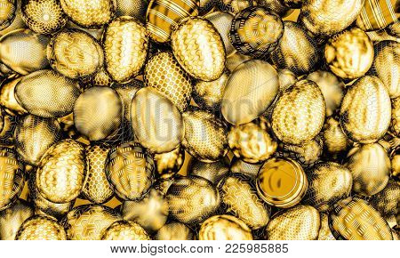 metal gold easter eggs 3d rendering image
