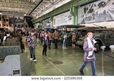 St. Petersburg, Russia - 7 May, Exhibition Of Military Equipment, 7 May, 2017. Visitor In The Exhibi