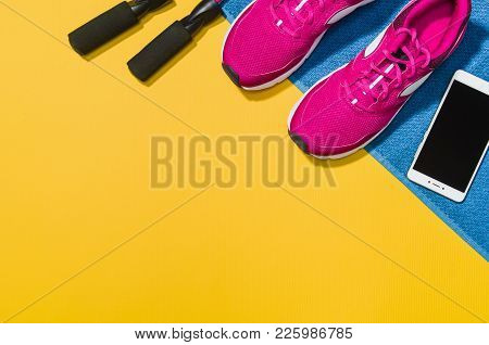 Fitness Accessories, Healthy And Active Lifestyles Concept Background With Copy Space For Text. Prod