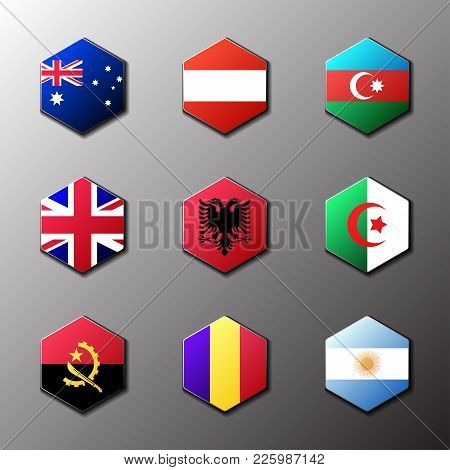 Hexagon Icon Set. Flags Of The World With Official Rgb Coloring And Detailed Emblems In Vector. Aust