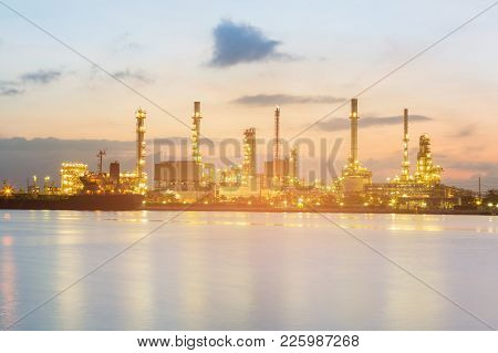 Night View Over Petroleum Power Plant River Front, Industrial Background