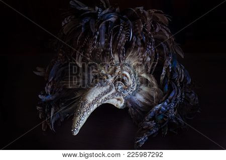 The Carnival Venetian Mask Plague Doctor With Colored Feathers From Venice