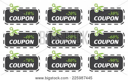Set Of Coupon Sale Collection. Vector Illustration.