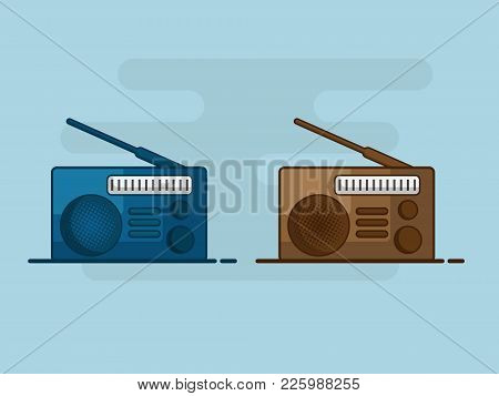 Illustration Of Old Radio Flat Design Vector Background