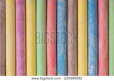 Set Of Classroom Dustless Colored Chalk Background.