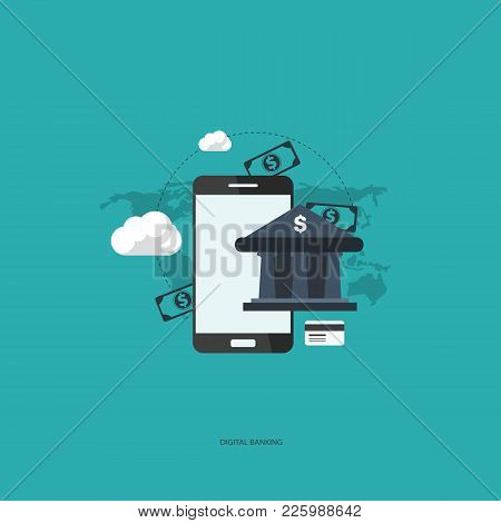 E-commerce Flat Vector Illustration Design. Business Concept For On Line Shopping, E-banking, Discou