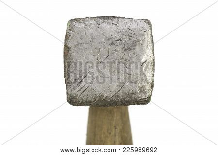 Close Up Of An Old Square Hammer Head Isolated On White.