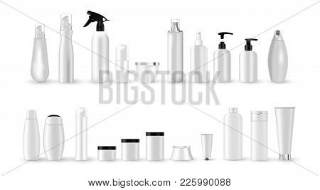 Set Vector Blank Templates Of Empty And Clean White Plastic Containers With Black And White Cap:  Bo
