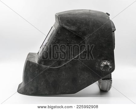 Used And Dirty Auto-darkening Pro Welding Helmet Black Isolated On White
