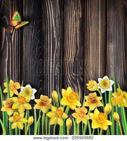 Daffodils Flowers On The Rustic Wooden Background