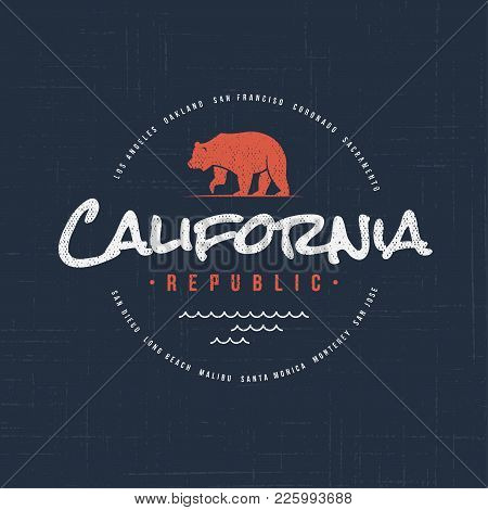 California Republic. T-shirt And Apparel Vector Design, Typography, Print, Logo, Label, Poster Globa