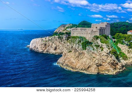 Aerial View At Famous Old Fort By The Adriatic Sea, Dubrovnik Riviera Scenery, Croatia.