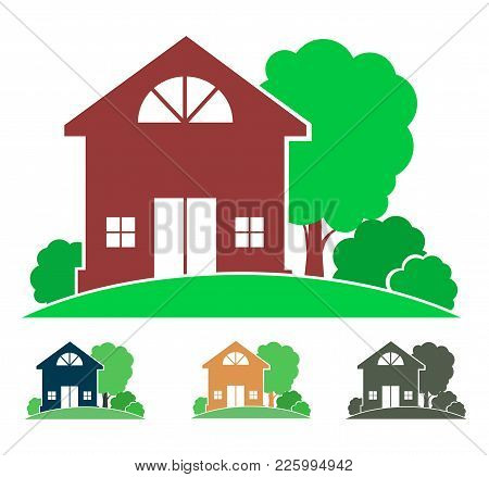 Cottage With Trees And Bushes (logo, Sign, Icon, Emblem), Country House Image In Color And Monochrom