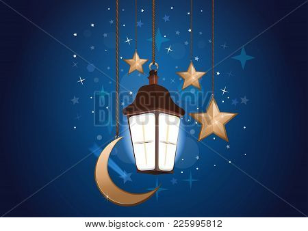Night Background With Moon, Stars And Lantern. Sweet Dreams. Good Night Card. Vector Illustration