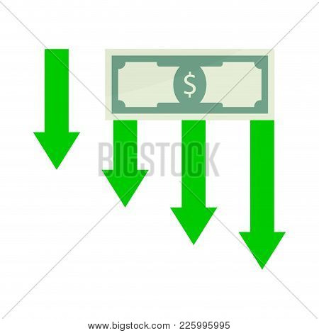 Financial Crisis Money. Vector Crash Economic And Risk Banknote, Graph Down Trend, Recession Diagram