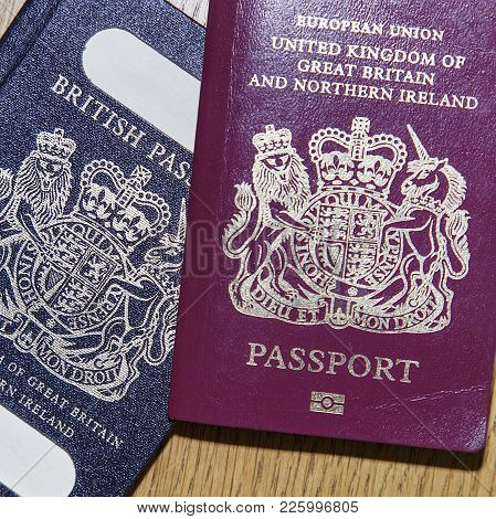 London, Uk: January 04, 2018: An Old Blue British Passport And A New Red European Union Passport In