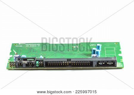 The Electronic Circuit Boards Of Dvd Writer Model Parallel Isolated On A White Background.