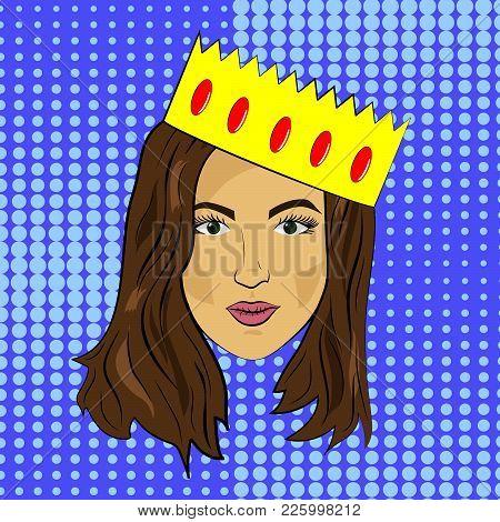 Pop Art Girl With Dark Hair Calm Face With Crown, Vector