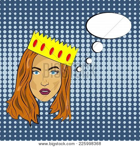 Pop Art Girl With Red Hair Calm Face With A Crown Of Bubbles, Vector