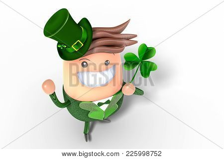 3d Rendering Of A Cute Adorable Gnome Mascot Wearing In St Patrick Suite, Holding Shamrock In The Le