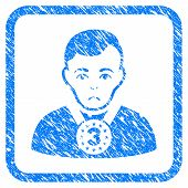 3rd Prizer Sportsman rubber seal stamp watermark. Icon vector symbol with grunge design and corrosion texture inside rounded square. Scratched blue emblem on a white background. poster