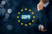 GDPR (general data protection regulation) concept. Businessman or IT technologist think about GDPR implementation for his company. poster