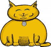 Isolated fat cat illustration about greed and selfishness poster