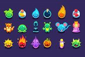 Assets for mobile game with funny creatures and objects. Aliens, fish, mouse, fox, toad, princess, bomb, potion, pumpkin, balls with eyes, mouths, horns fire water spikes Flat vector design poster