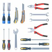 Builder, repair and construction hand tool set. Flat illustration of pliers, adjustable spanner, wrench, rasp, screwdrivers, hammers with, knife, carpentry chisel. Vector isolated instrument set. poster
