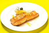 Grilled Salmon On White Plate on table poster