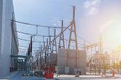 High voltage electricity power station transformer 500 kV Substation poster
