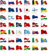 Set of flags. Glossy buttons. All elements and textures are individual objects. Vector illustration scale to any size poster