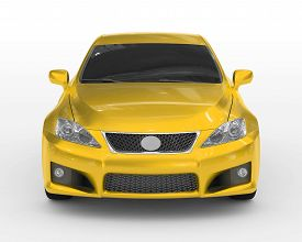 car isolated on white - yellow paint, tinted glass - front view - 3d rendering