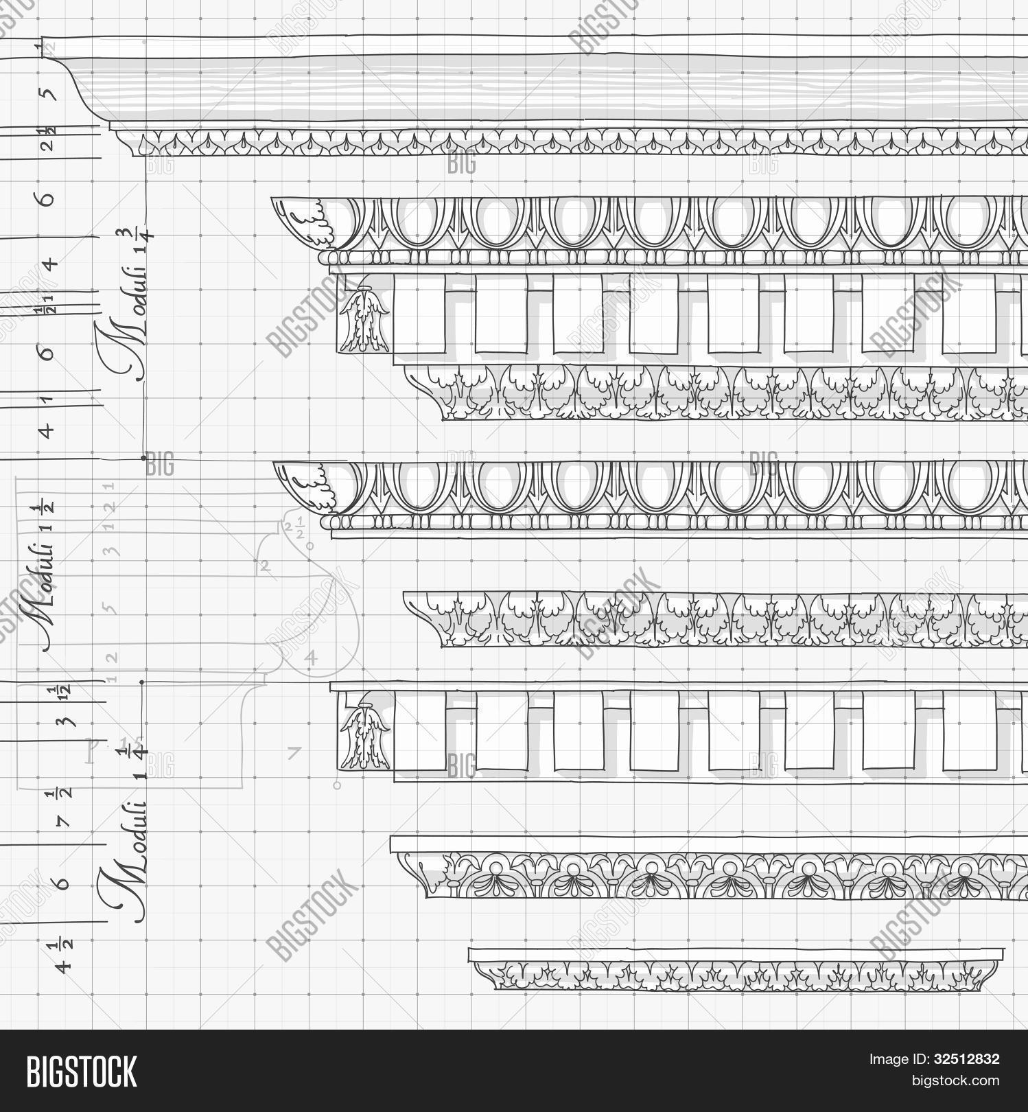 Blueprint vintage image photo free trial bigstock blueprint vintage ornaments hand draw sketch based the five orders of architecture create a lightbox malvernweather Image collections