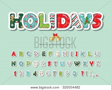 Christmas Cut Out Decorative Font. Scrapbook Paper With Stitching. All Patterns Are Full Under Clipp