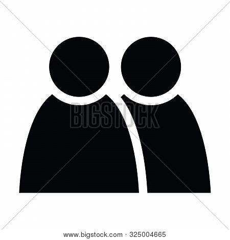2 People Tandem Icon. Group Of Persons. Simplified Human Pictogram. Modern Simple Flat Vector Icon