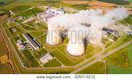 Aerial view to Temelin nuclear power plant.  This power station is important source of electricity for Czech Republic in European Union.