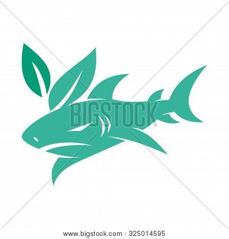 Shark Leaf Logo Design Vector Isolated Illustration Template