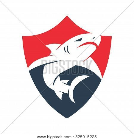 Shark Secure Logo Design Vector Isolated Illustration Template