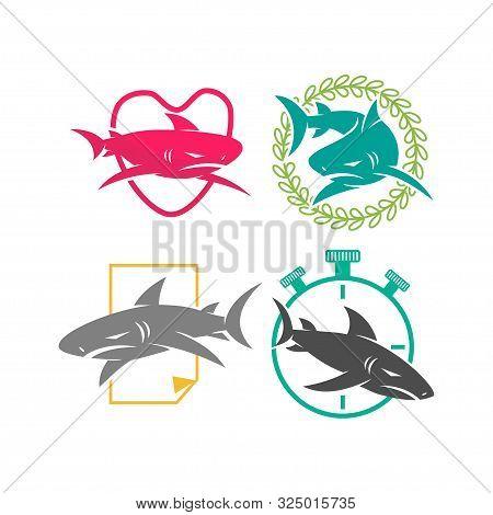 Shark Love Leaf Stopwatch Paper Logo Design Vector Set Template