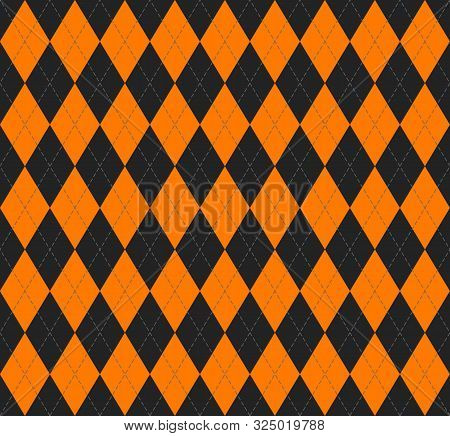 Halloween Argyle Plaid. Scottish Pattern In Black And Orange  Rhombuses. Scottish Cage. Traditional