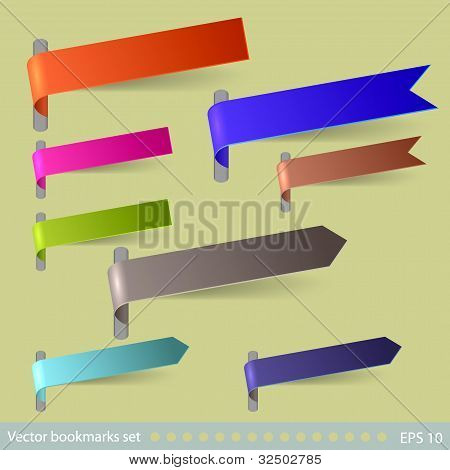 Vector Bookmarks Set. Easy To Edit