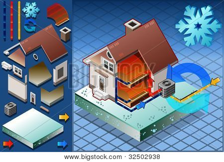 Isometric house with conditioner in heat production